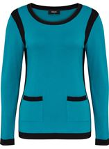 Colour Block Round Neck Knit Top Kingfisher/Black - Gallery Image 1