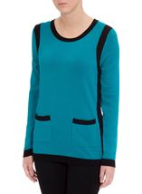 Colour Block Round Neck Knit Top Kingfisher/Black - Gallery Image 2