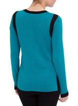 Colour Block Round Neck Knit Top Kingfisher/Black - Gallery Image 3