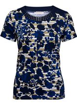 Anna Rose Floral Round Neck Embellished Top Navy/White/Lemon - Gallery Image 1