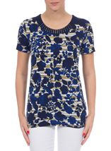 Anna Rose Floral Round Neck Embellished Top Navy/White/Lemon - Gallery Image 2