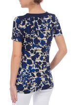 Anna Rose Floral Round Neck Embellished Top Navy/White/Lemon - Gallery Image 3