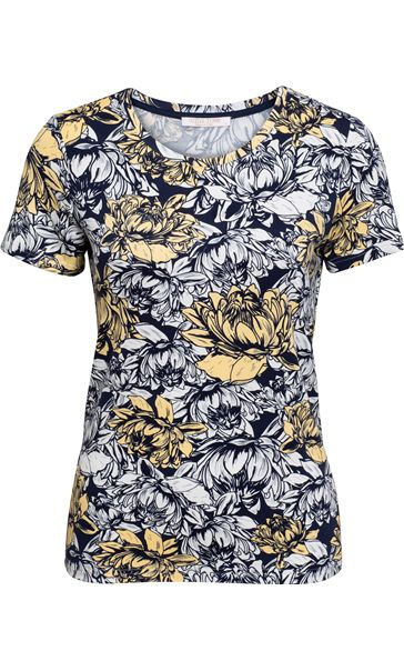 Anna Rose Floral Print Round Neck Jersey Top Navy/White/Lemon