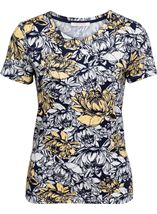 Anna Rose Floral Print Round Neck Jersey Top Navy/White/Lemon - Gallery Image 1