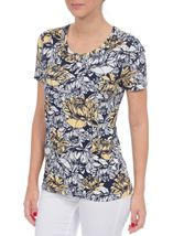 Anna Rose Floral Print Round Neck Jersey Top Navy/White/Lemon - Gallery Image 2