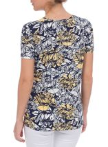 Anna Rose Floral Print Round Neck Jersey Top Navy/White/Lemon - Gallery Image 3