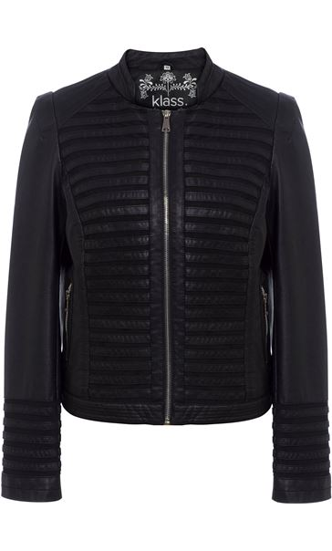 Faux Leather And Mesh Jacket Black