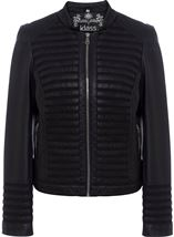 Faux Leather And Mesh Jacket Black - Gallery Image 1