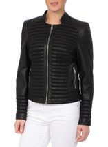Faux Leather And Mesh Jacket Black - Gallery Image 2