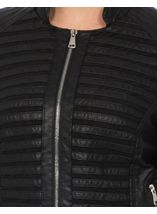 Faux Leather And Mesh Jacket Black - Gallery Image 4