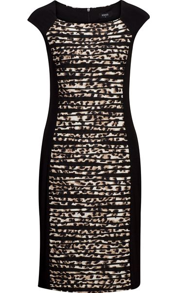 Animal Print Panel Fitted Midi Dress Black/Brown