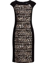 Animal Print Panel Fitted Midi Dress Black/Brown - Gallery Image 1