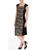 Animal Print Panel Fitted Midi Dress Black/Brown - Gallery Image 2