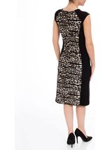 Animal Print Panel Fitted Midi Dress Black/Brown - Gallery Image 3