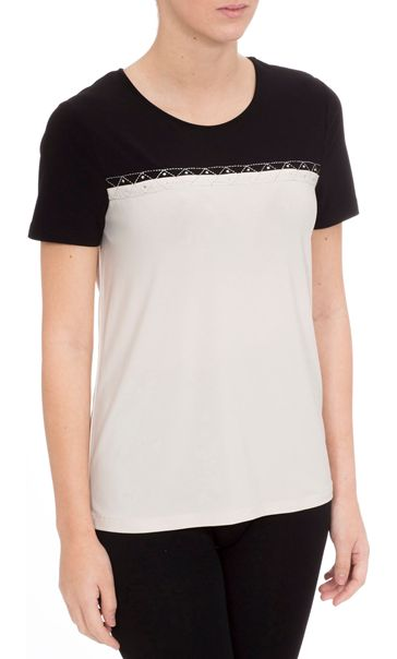 Anna Rose Short Sleeve Colour Block Top Taupe/Black