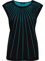Sleeveless Layer Laser Cut Top Black/Teal - Gallery Image 1