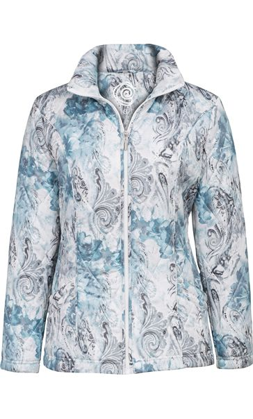 Anna Rose Watercolour Print Padded Jacket Blue