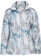 Anna Rose Watercolour Print Padded Jacket Blue - Gallery Image 1