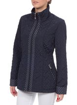 Anna Rose Lightweight Quilt Coat Navy - Gallery Image 2