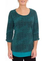 Georgette Trim Round Neck Knit Top Black/Kingfisher - Gallery Image 2