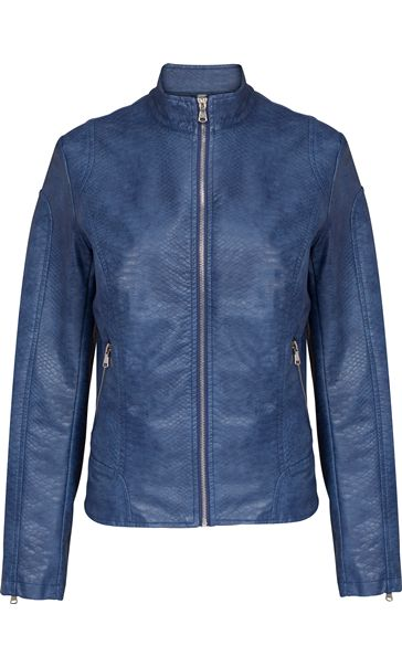 Faux Leather Zip Jacket Atlantic Blue
