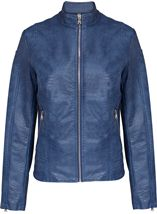 Faux Leather Zip Jacket Atlantic Blue - Gallery Image 1