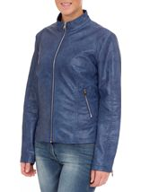Faux Leather Zip Jacket Atlantic Blue - Gallery Image 2