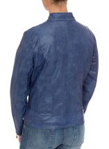 Faux Leather Zip Jacket Atlantic Blue - Gallery Image 3
