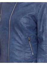 Faux Leather Zip Jacket Atlantic Blue - Gallery Image 4