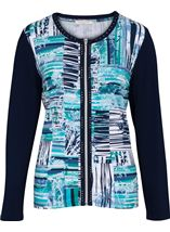 Anna Rose Long Sleeve Jersey Zip Jacket Navy/Teal - Gallery Image 1