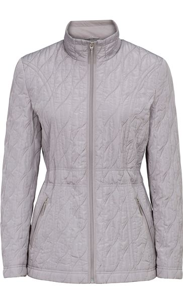 Embroidered Padded Jacket Grey