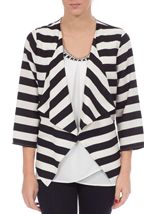 Stripe Three Quarter Sleeve Waterfall Jacket Black/White - Gallery Image 1