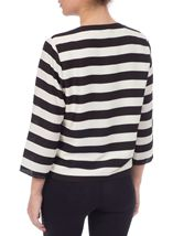 Stripe Three Quarter Sleeve Waterfall Jacket Black/White - Gallery Image 2