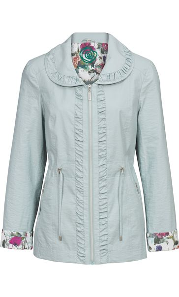 Anna Rose Shawl Collar Lightweight Jacket Green Mix