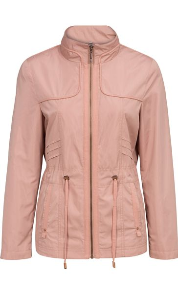 Lightweight Collarless Zip Jacket Blush