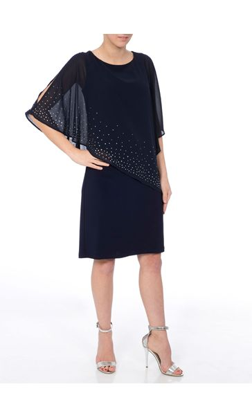 Embellished Chiffon Layer Midi Dress Midnight