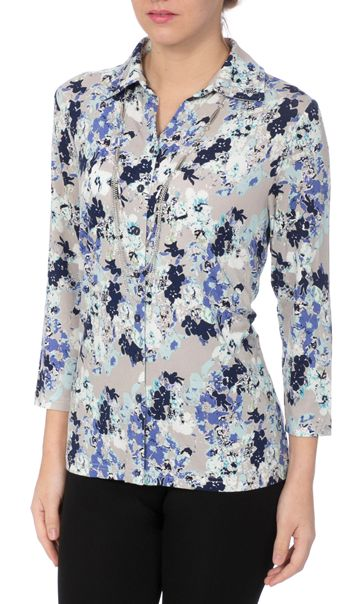 Anna Rose Floral Jersey Blouse With Necklace Blue/Passion