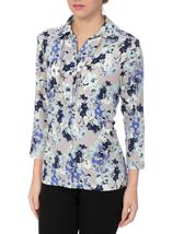 Anna Rose Floral Jersey Blouse With Necklace Blue/Passion - Gallery Image 1
