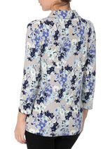 Anna Rose Floral Jersey Blouse With Necklace Blue/Passion - Gallery Image 2