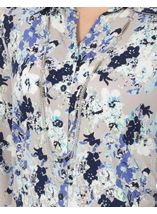 Anna Rose Floral Jersey Blouse With Necklace Blue/Passion - Gallery Image 3