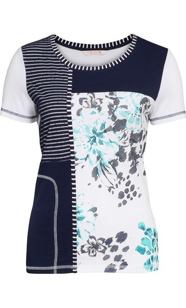 Anna Rose Panelled Short Sleeve Top Blue/Passion