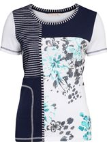 Anna Rose Panelled Short Sleeve Top Blue/Passion - Gallery Image 1