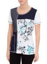 Anna Rose Panelled Short Sleeve Top Blue/Passion - Gallery Image 2