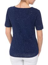 Anna Rose Laser Cut Textured Top Navy - Gallery Image 2