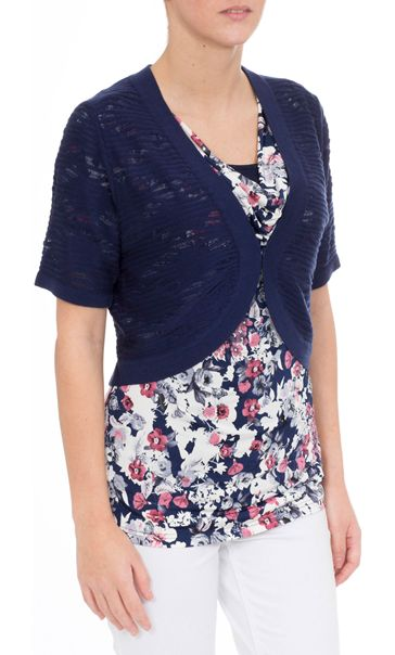 Anna Rose Knitted Open Cover Up Navy