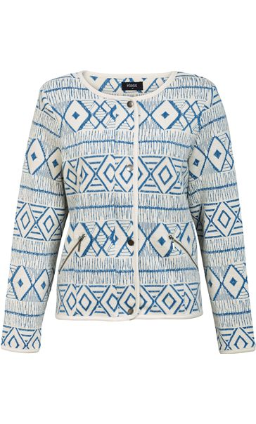Unlined Long Sleeve Patterned Jacket White/Cobalt