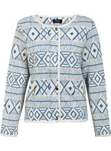 Unlined Long Sleeve Patterned Jacket White/Cobalt - Gallery Image 1