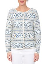 Unlined Long Sleeve Patterned Jacket White/Cobalt - Gallery Image 2