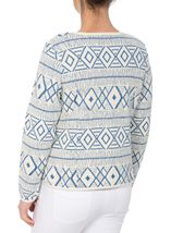 Unlined Long Sleeve Patterned Jacket White/Cobalt - Gallery Image 3