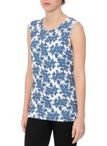 Anna Rose Laser Cut Print Top Navy/White - Gallery Image 1